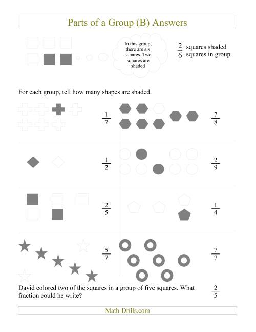 The Parts of a Group Fraction Models (B) Math Worksheet Page 2