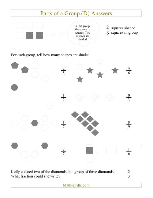 The Parts of a Group Fraction Models (D) Math Worksheet Page 2