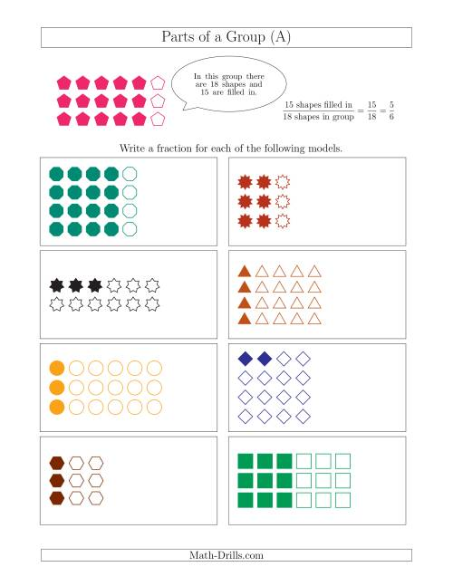 The Parts of a Group Fraction Models Up to Eighths (A) Math Worksheet
