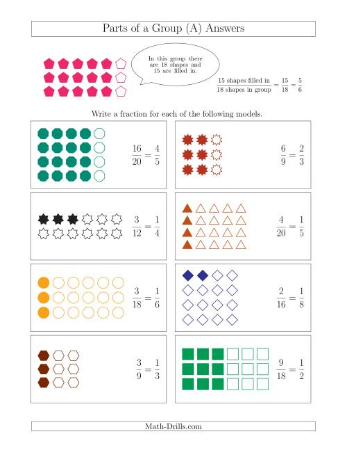The Parts of a Group Fraction Models Up to Eighths (A) Math Worksheet Page 2