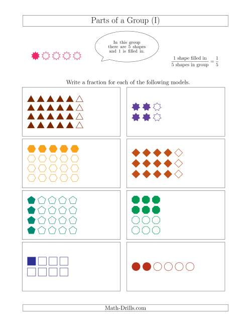 The Parts of a Group Fraction Models Up to Eighths (I) Math Worksheet
