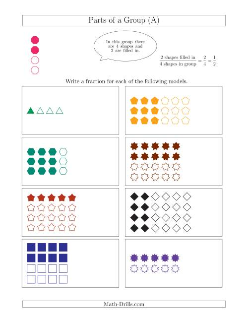 The Parts of a Group Fraction Models Up to Fourths (A) Math Worksheet