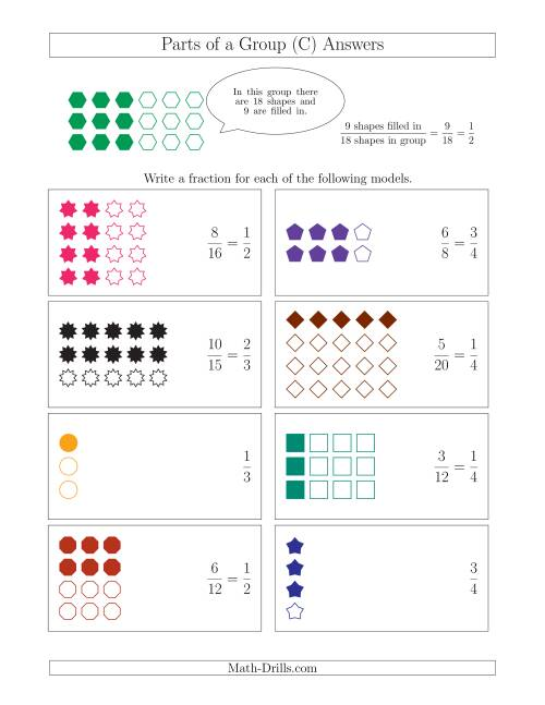 The Parts of a Group Fraction Models Up to Fourths (C) Math Worksheet Page 2