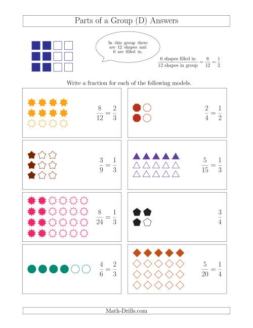The Parts of a Group Fraction Models Up to Fourths (D) Math Worksheet Page 2