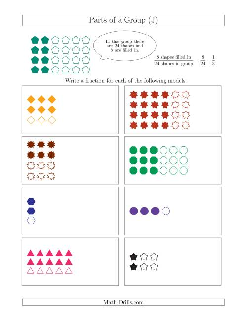 The Parts of a Group Fraction Models Up to Fourths (J) Math Worksheet