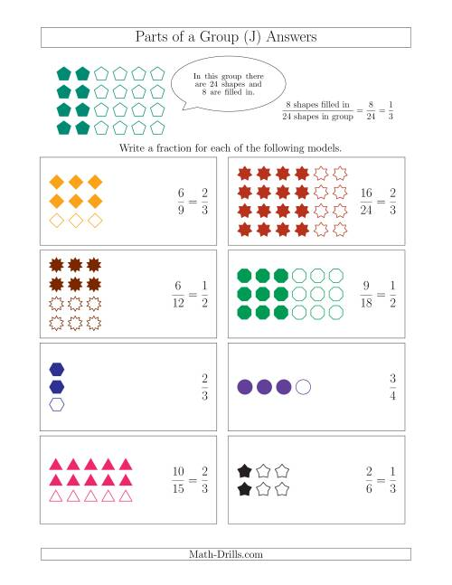The Parts of a Group Fraction Models Up to Fourths (J) Math Worksheet Page 2
