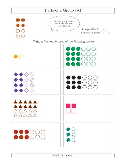 Uncategorized Fraction Of A Set Worksheet parts of a group fraction models with halves only a