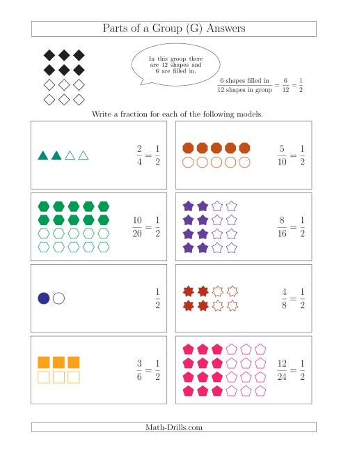 The Parts of a Group Fraction Models with Halves Only (G) Math Worksheet Page 2