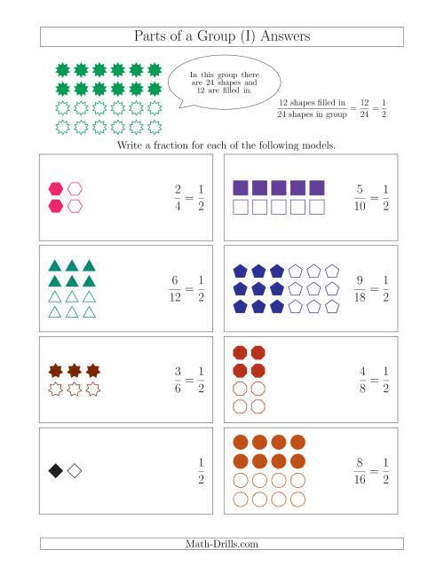 The Parts of a Group Fraction Models with Halves Only (I) Math Worksheet Page 2