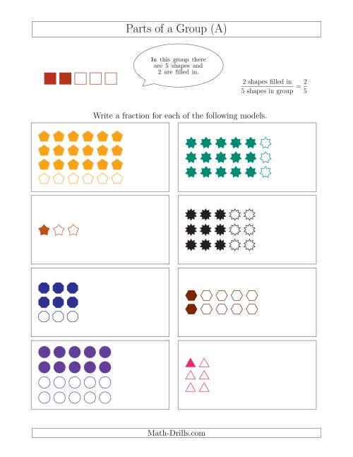 The Parts of a Group Fraction Models Up to Sixths (A) Math Worksheet