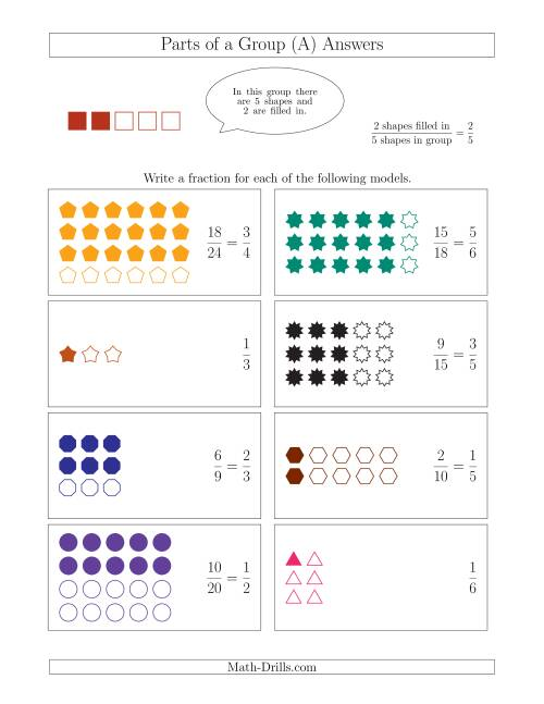 The Parts of a Group Fraction Models Up to Sixths (A) Math Worksheet Page 2