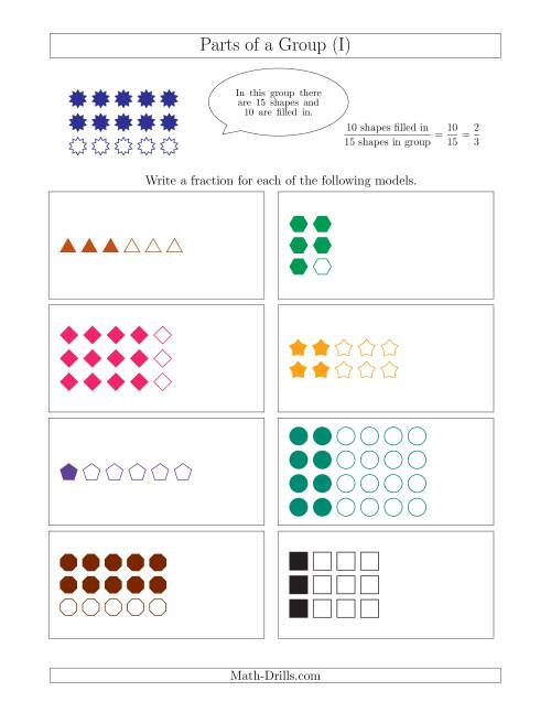 The Parts of a Group Fraction Models Up to Sixths (I) Math Worksheet