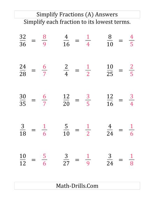 The Simplify Proper Fractions to Lowest Terms (Easier Version) (LP) Math Worksheet Page 2