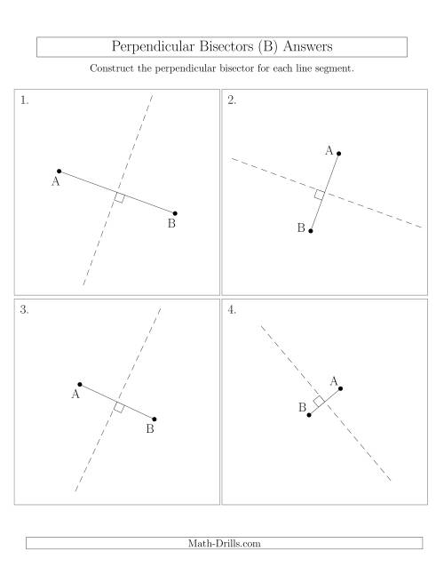 The Perpendicular Bisectors of a Line Segment (B) Math Worksheet Page 2