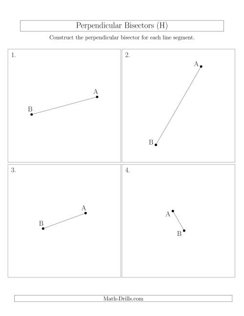 The Perpendicular Bisectors of a Line Segment (H) Math Worksheet