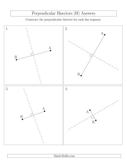 The Perpendicular Bisectors of a Line Segment (H) Math Worksheet Page 2