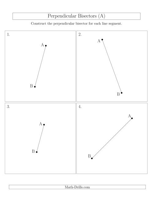 The Perpendicular Bisectors of a Line Segment (All) Math Worksheet