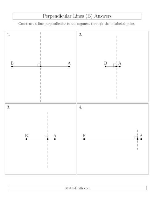 The Construct Perpendicular Lines Through Points on a Line Segment (B) Math Worksheet Page 2