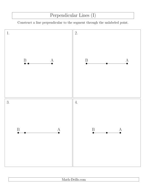 The Construct Perpendicular Lines Through Points on a Line Segment (I) Math Worksheet
