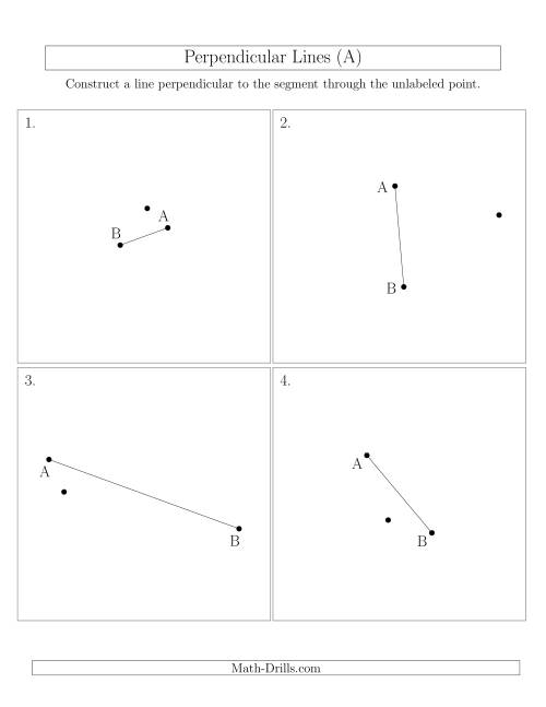 The Perpendicular Lines Through Points Not on a Line Segment (Segments are randomly rotated) (A) Math Worksheet