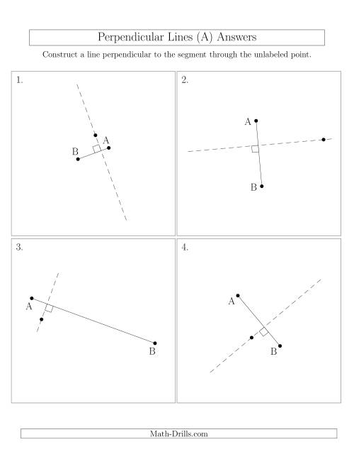 The Perpendicular Lines Through Points Not on a Line Segment (Segments are randomly rotated) (A) Math Worksheet Page 2