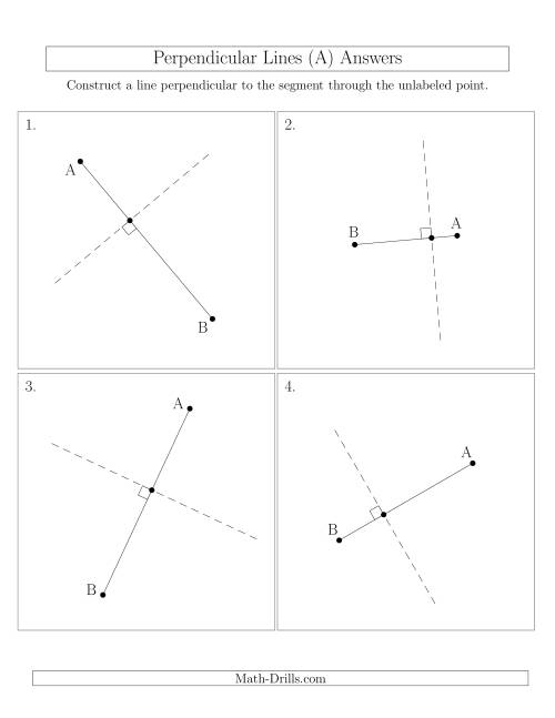 The Perpendicular Lines Through Points on a Line Segment (Segments are randomly rotated) (A) Math Worksheet Page 2