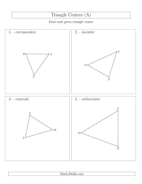 The Contructing Centers for Acute Triangles (A) Math Worksheet