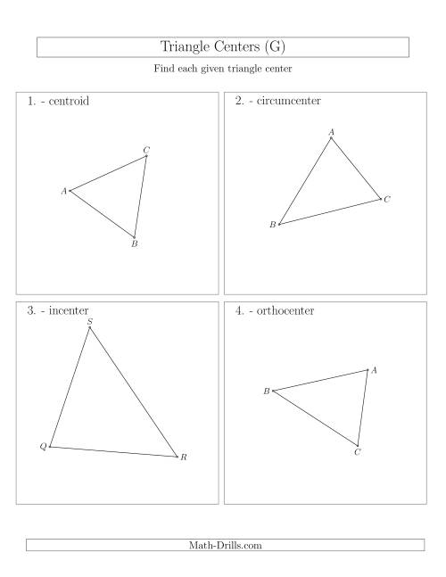 The Contructing Centers for Acute Triangles (G) Math Worksheet
