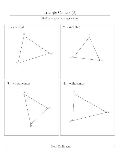 The Contructing Centers for Acute Triangles (J) Math Worksheet