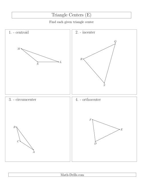 The Contructing Centers for Acute and Obtuse Triangles (E) Math Worksheet
