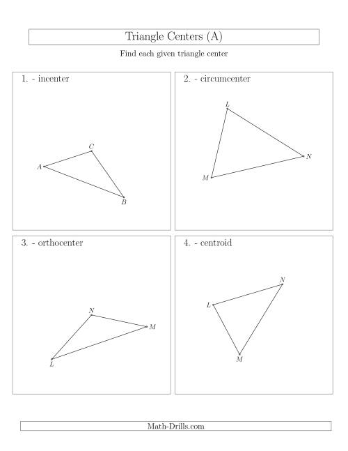 The Contructing Centers for Acute and Obtuse Triangles (All) Math Worksheet