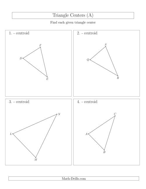 Contructing Centroids for Acute Triangles A – Geometric Constructions Worksheet