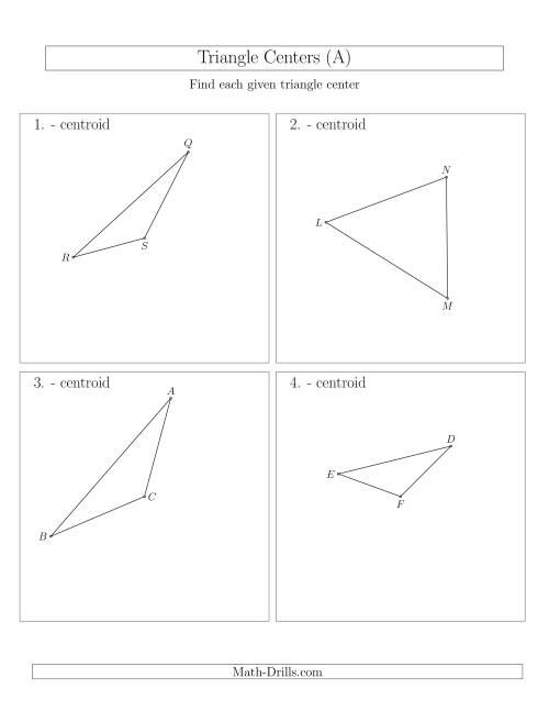 The Contructing Centroids for Acute and Obtuse Triangles (A) Math Worksheet