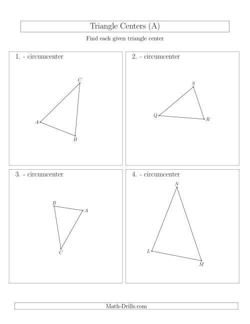 The Contructing Circumcenters for Acute Triangles (A) Math Worksheet