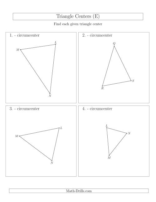 The Contructing Circumcenters for Acute Triangles (E) Math Worksheet