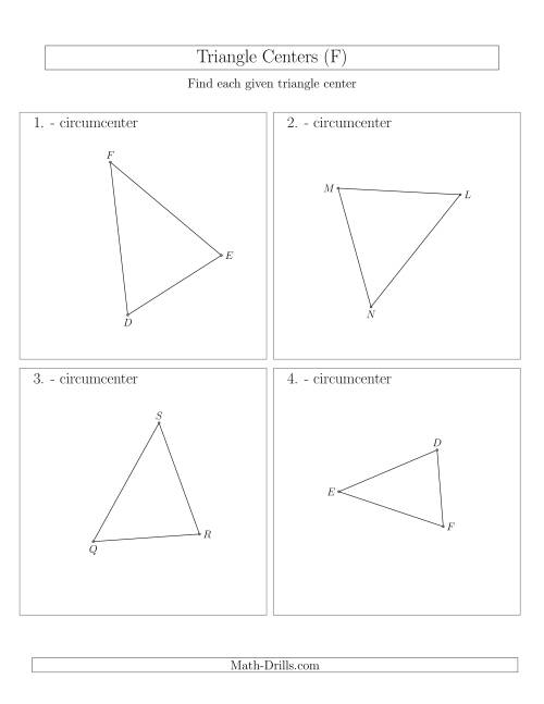 The Contructing Circumcenters for Acute Triangles (F) Math Worksheet