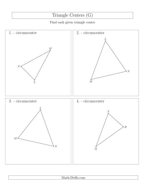 The Contructing Circumcenters for Acute Triangles (G) Math Worksheet