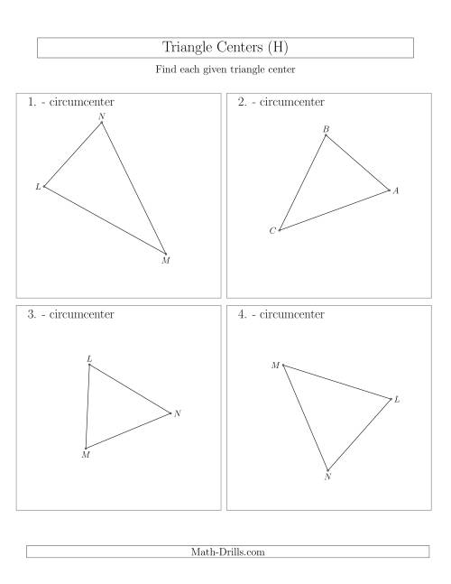 The Contructing Circumcenters for Acute Triangles (H) Math Worksheet