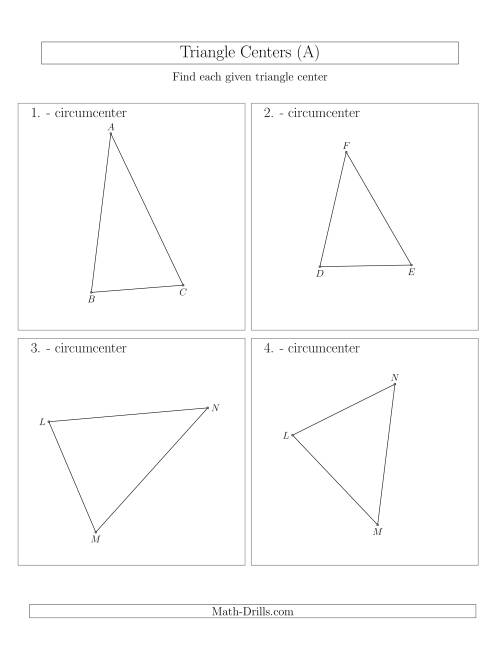 The Contructing Circumcenters for Acute and Obtuse Triangles (A) Math Worksheet