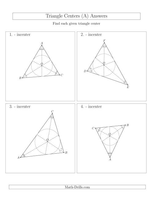 The Contructing Incenters for Acute Triangles (A) Math Worksheet Page 2