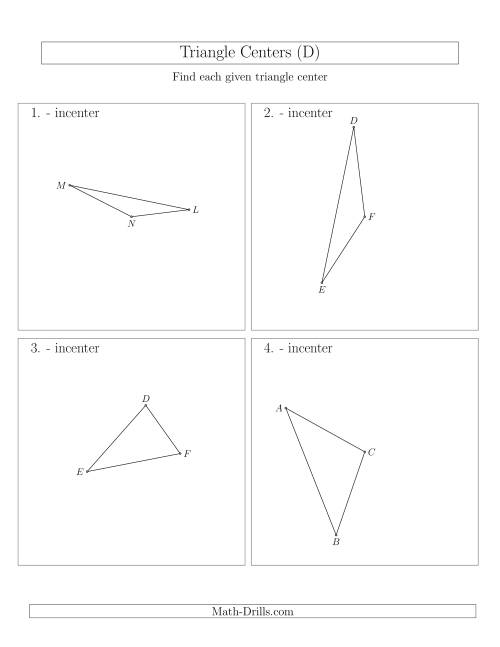 The Contructing Incenters for Acute and Obtuse Triangles (D) Math Worksheet