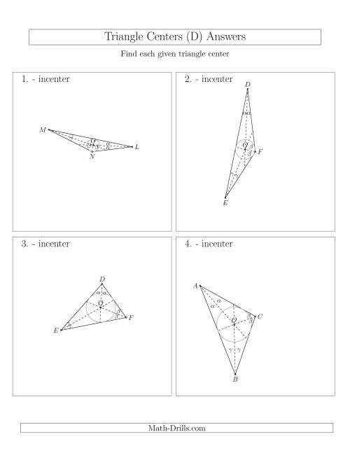 The Contructing Incenters for Acute and Obtuse Triangles (D) Math Worksheet Page 2