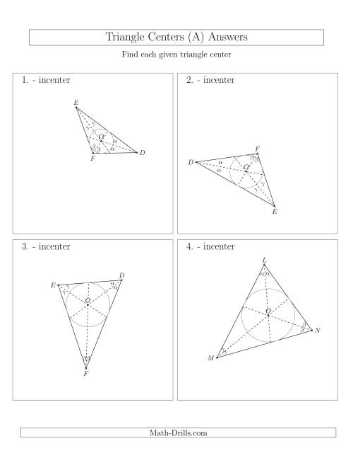 The Contructing Incenters for Acute and Obtuse Triangles (All) Math Worksheet Page 2