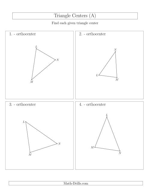 The Contructing Orthocenters for Acute Triangles (A) Math Worksheet