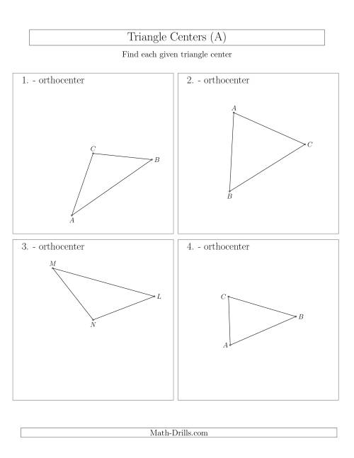 The Contructing Orthocenters for Acute and Obtuse Triangles (A) Math Worksheet