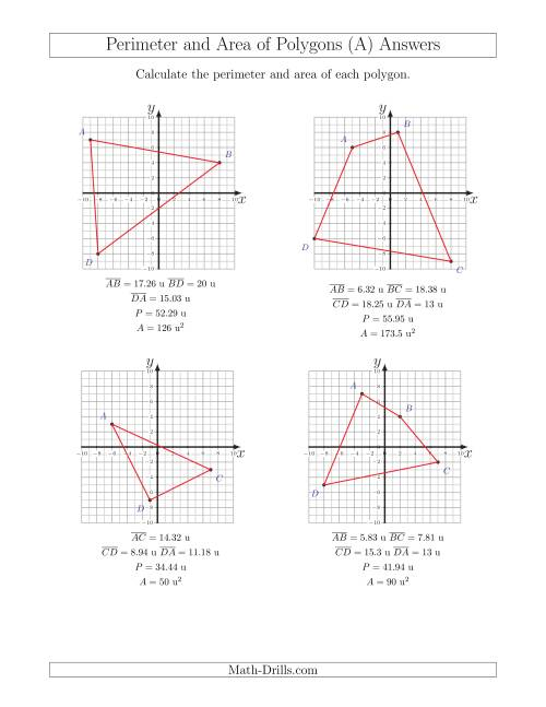 The Perimeter and Area of Polygons on Coordinate Planes (A) Math Worksheet Page 2