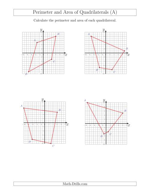 The Perimeter and Area of Quadrilaterals on Coordinate Planes (A) Math Worksheet