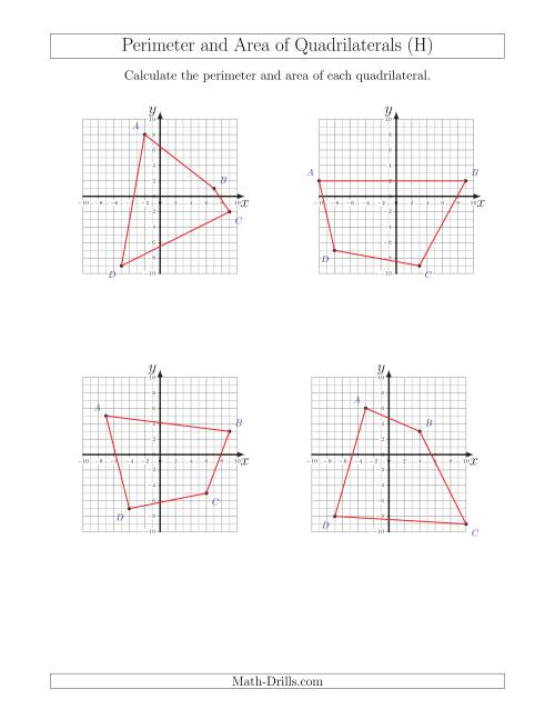 The Perimeter and Area of Quadrilaterals on Coordinate Planes (H) Math Worksheet