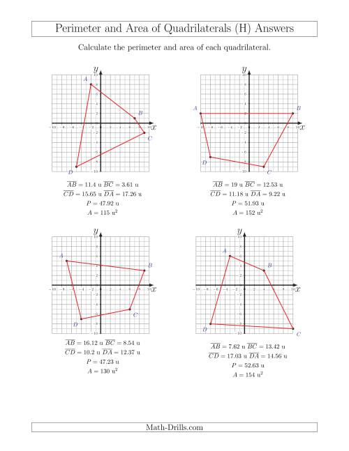 The Perimeter and Area of Quadrilaterals on Coordinate Planes (H) Math Worksheet Page 2