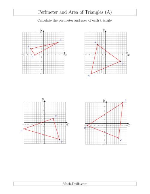The Perimeter and Area of Triangles on Coordinate Planes (A) Math Worksheet